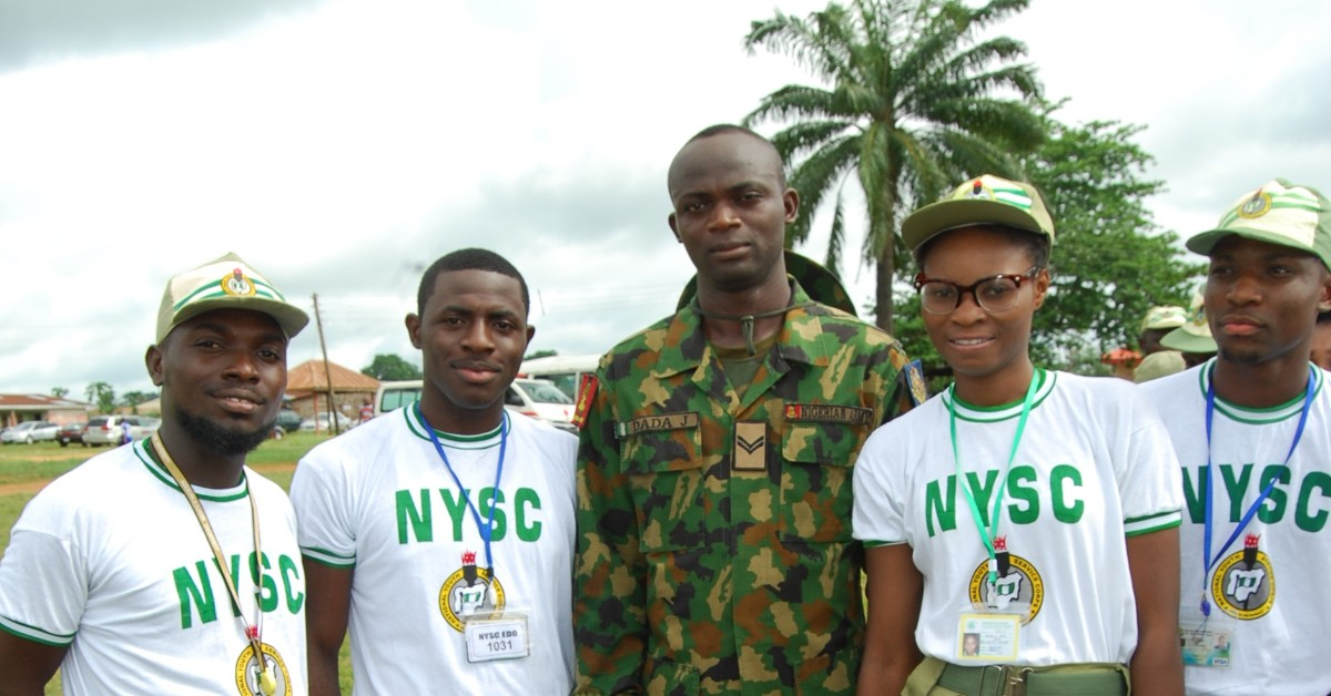 nysc member taking a picture in the nysc camp