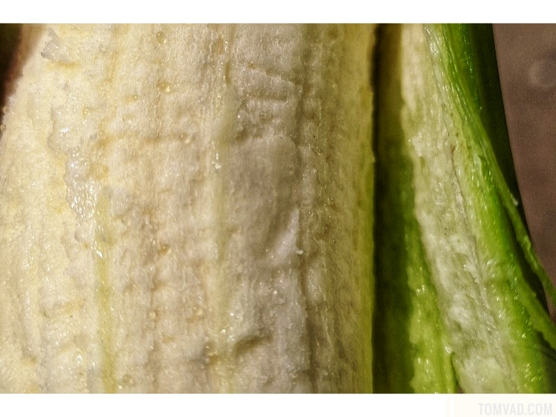 Partly Peeled Unripe Plantain