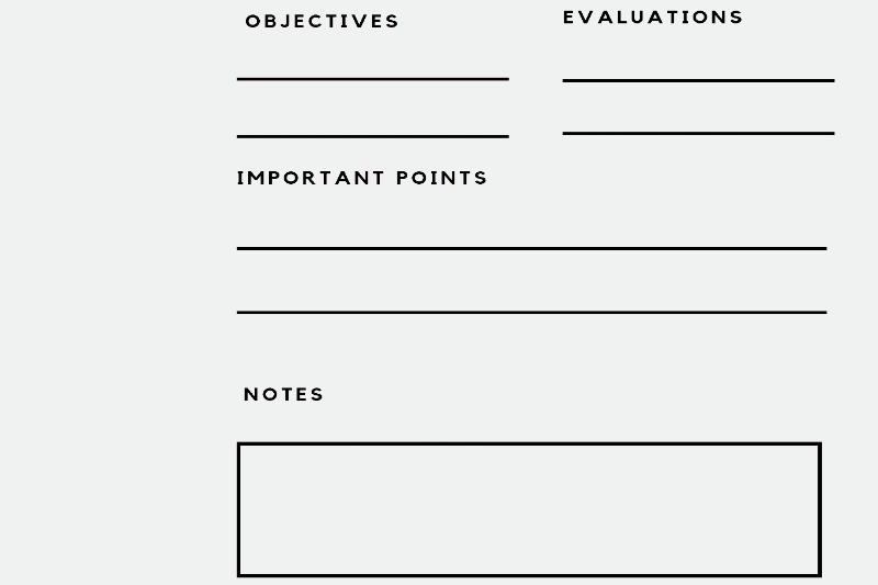 A planning note with objectives, evaluations, and important points