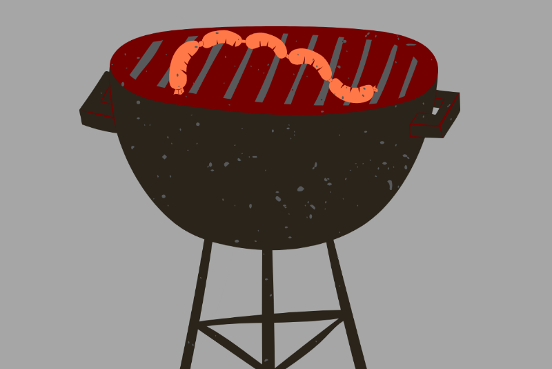 Meat on a barbeque stand