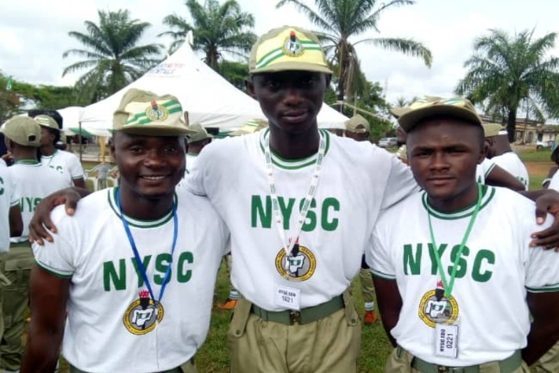 Three friends on their nysc uniform